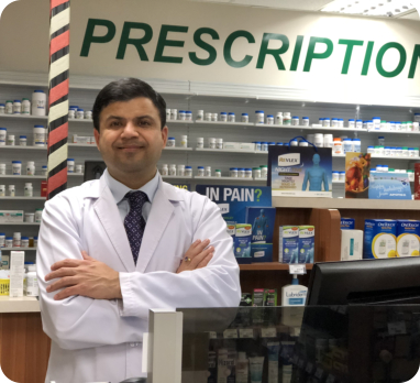 pharmacists with their customer smiling