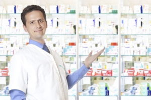 pharmacist showing medicines
